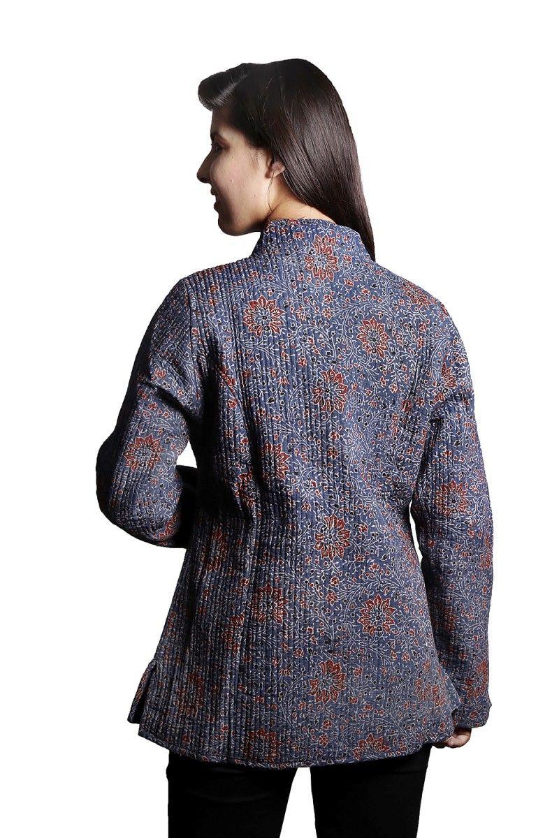 Ajrakh Floral Cotton Quilted Jacket
