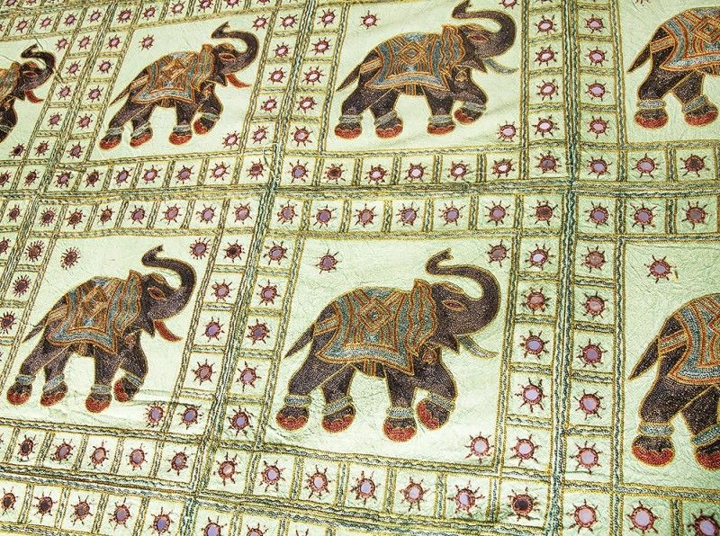 Green Cotton Elephant Patch Indian Bedspreads