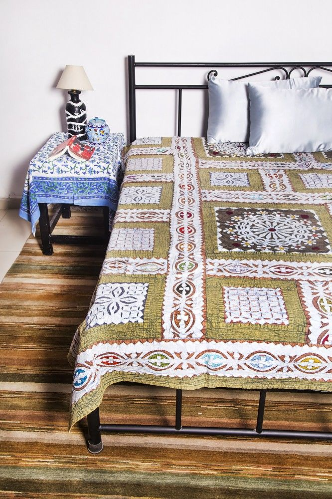 Green Patch Work California King Bedspreads