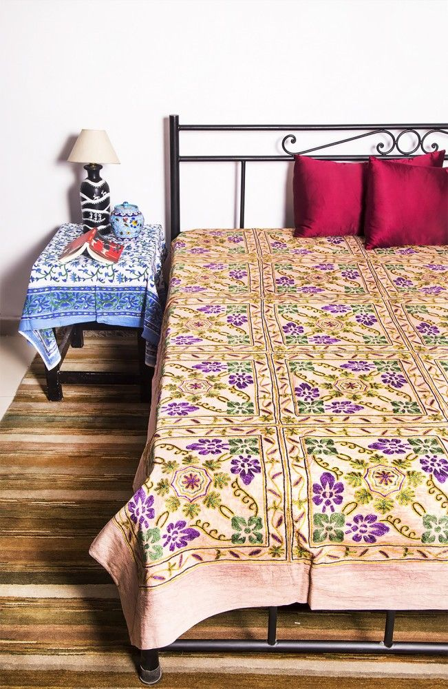Indian Cotton Embroidered Bedspreads