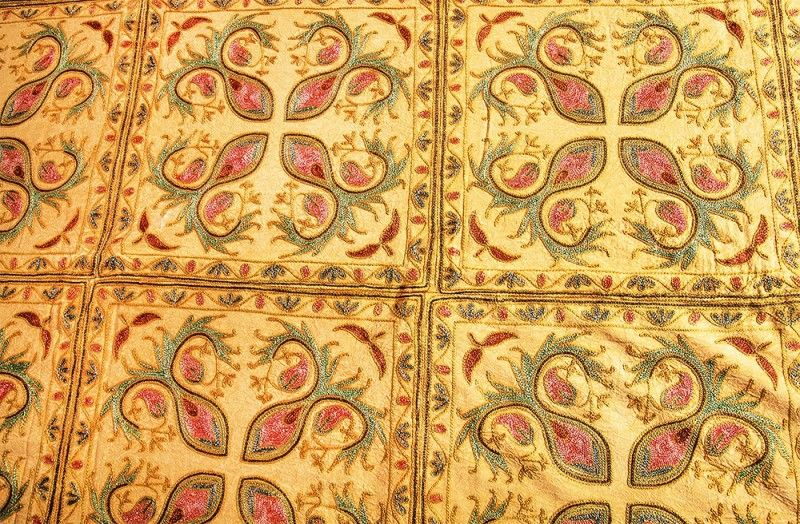 Beauty Yellow Cotton Embroidered Bedspread