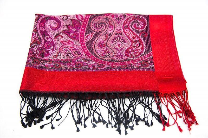 Red Self Design Silk Scarves For Women