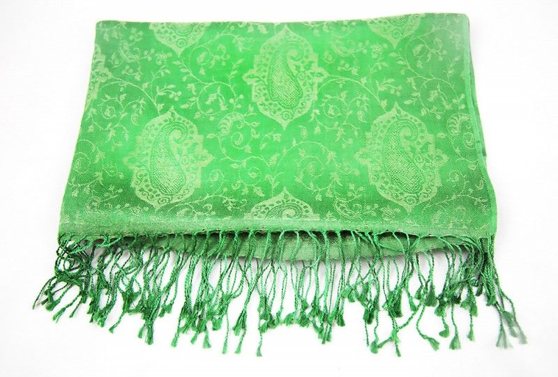 Lush Green Paisley Scarf