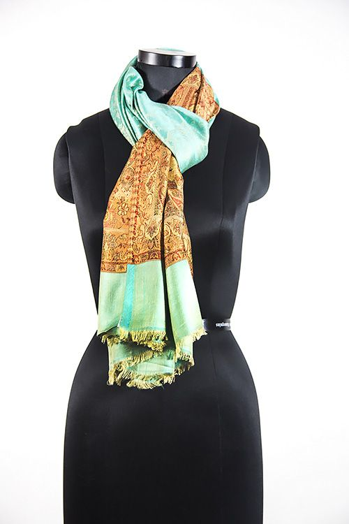 Designer Sea Green Fashion Scarves For Women
