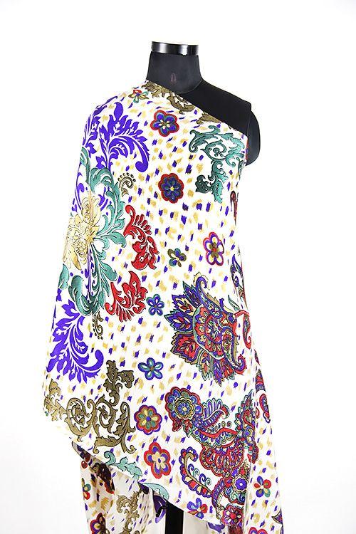 Multicolor Floral Cashmere Scarf Women