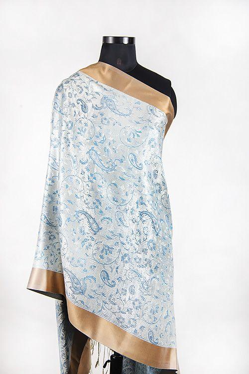 White Gold Designer Silk Scarves