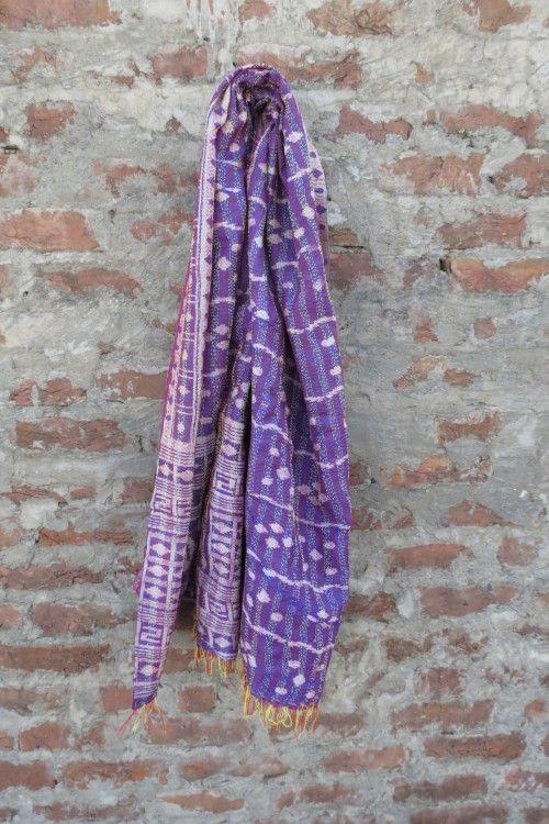 Violet Purple Reversible Silk Kantha Scarf