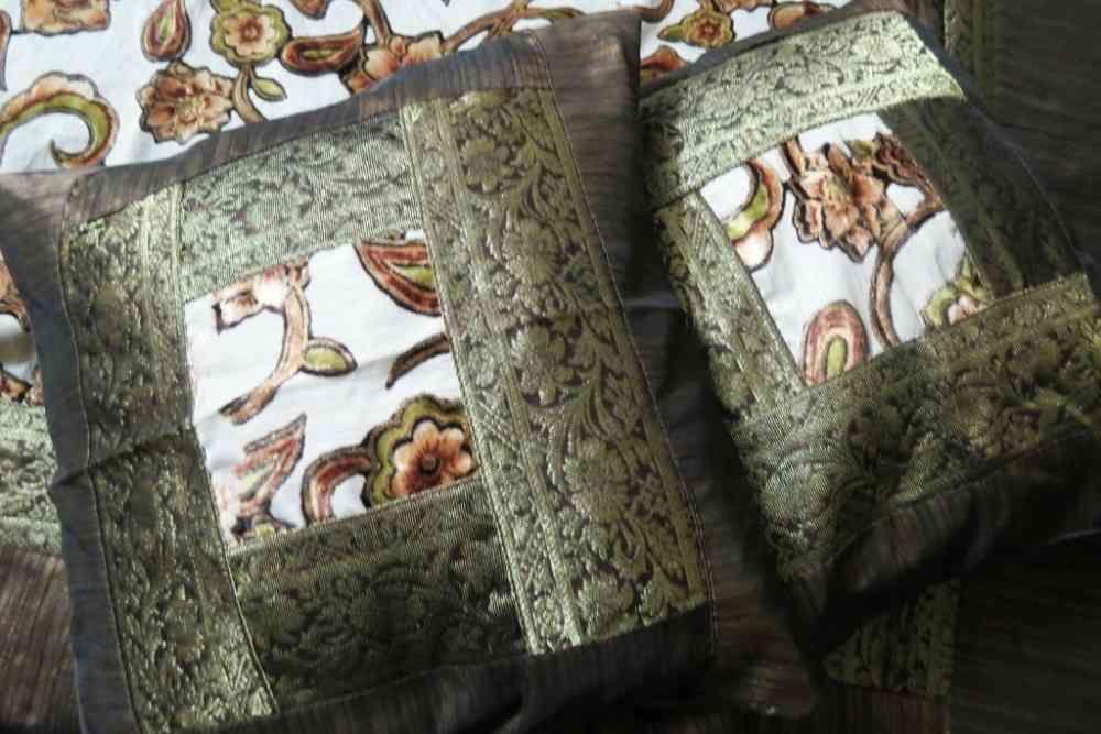 Beautiful Brown 5 Piece Silk Bedspread Set
