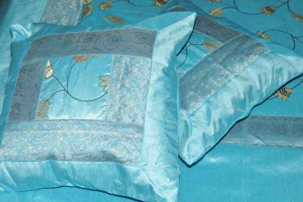 Beautiful Embroidered Aqua Blue 5 Piece Silk Bedcover Set