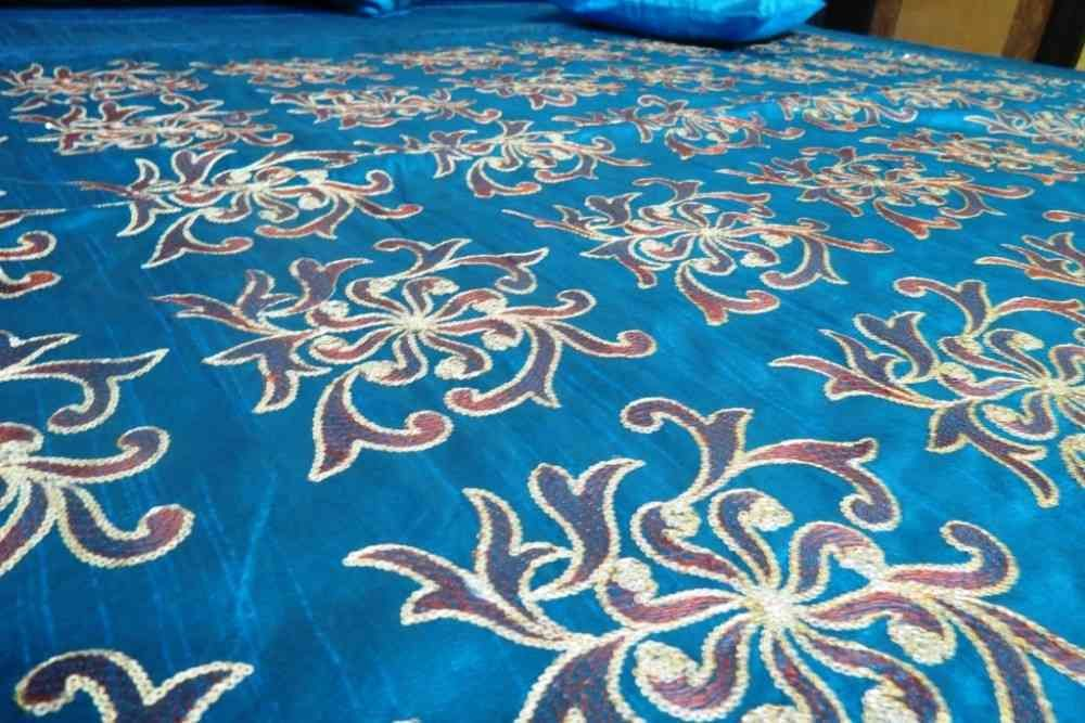 Beautiful Embroidered Blue 5 Piece Silk Bedcover Set