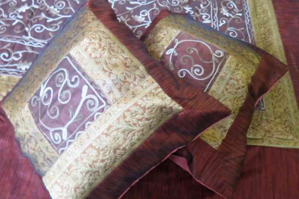 Beautiful Embroidered Brown 5 Piece Silk Bedspread