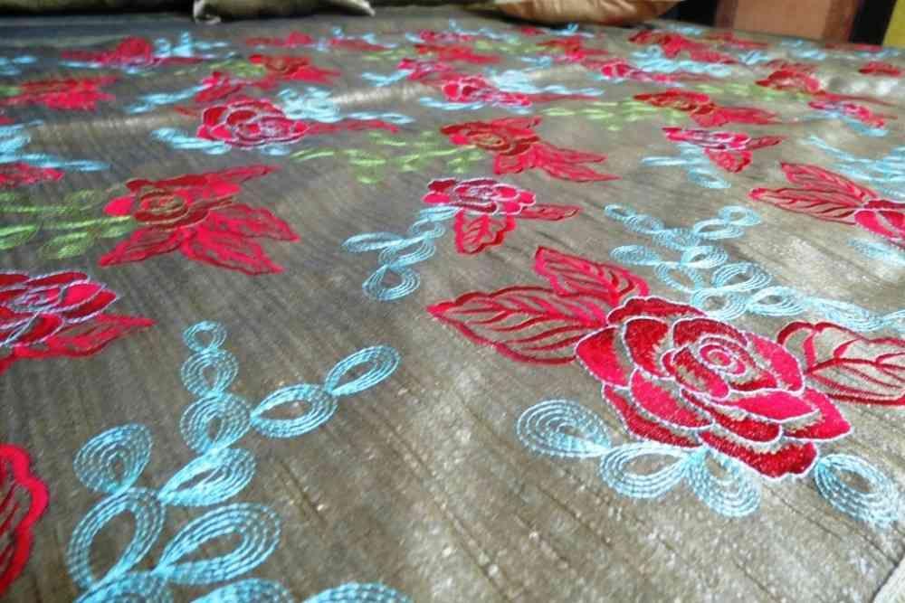 Beautiful Embroidered Grey 5 Piece Silk Bedspreads