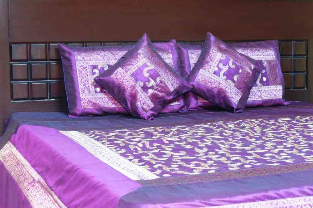 Beautiful Embroidered Purple 5 Piece Silk Bedcover Set