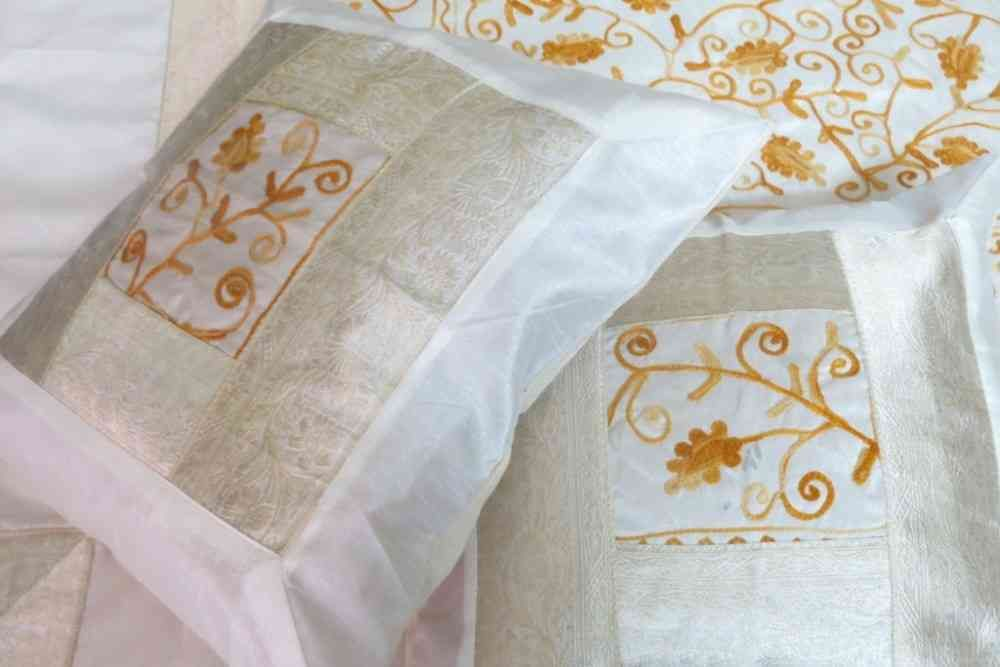 Beautiful Gold Yellow 5 Piece Silk Bedcover Set