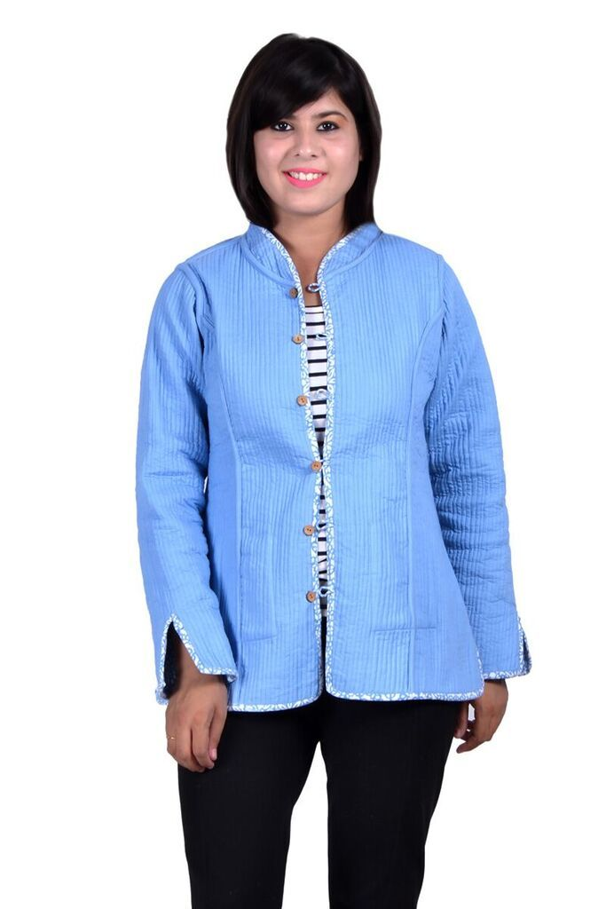 Blue Reversible Quilted Jacket For Women