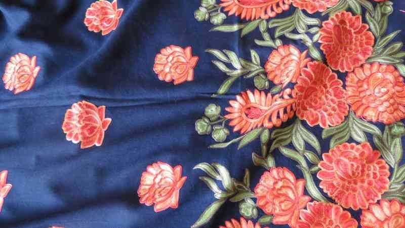 Cashmere Flower Blue Embroidered Scarf