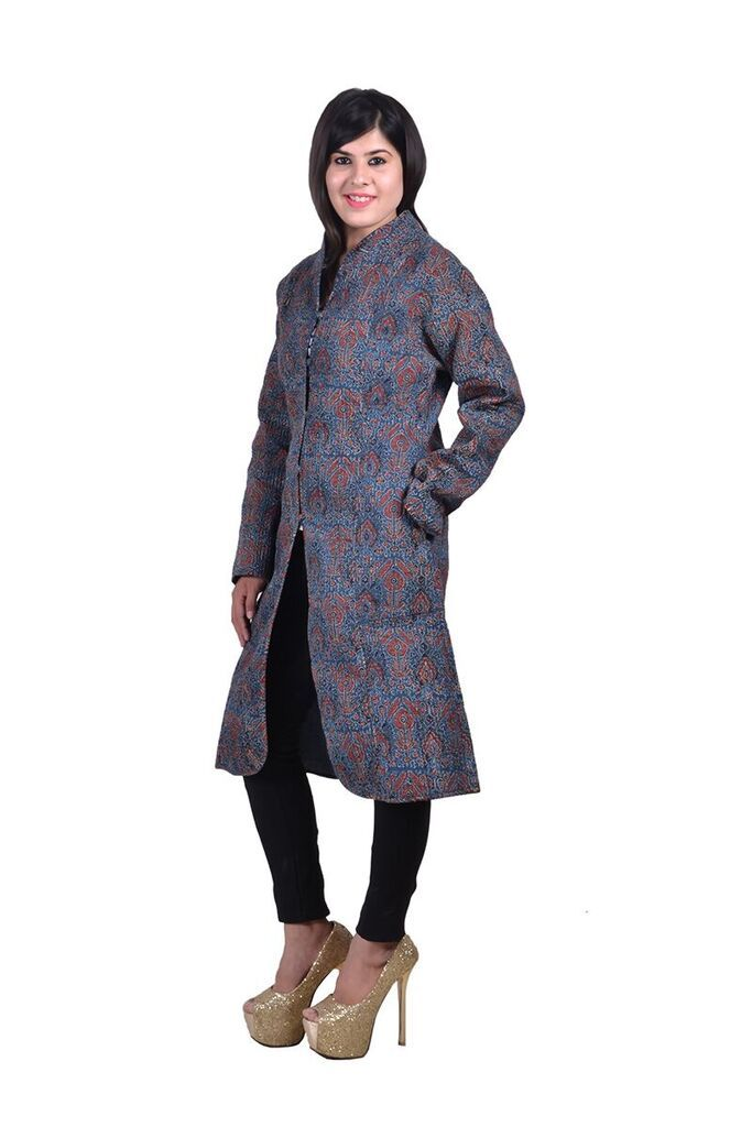Ajrakh Print Reversible Long Quilted Jacket For Women