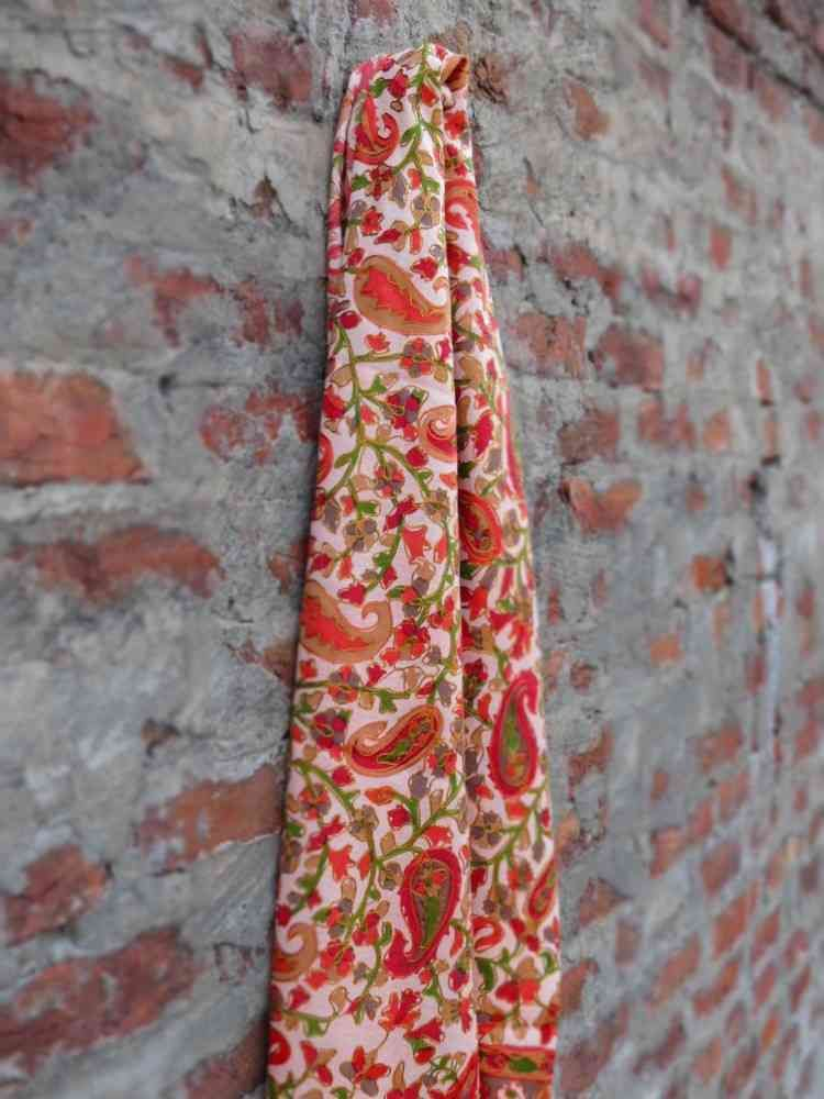 Cream Embroidered Paisley Scarf