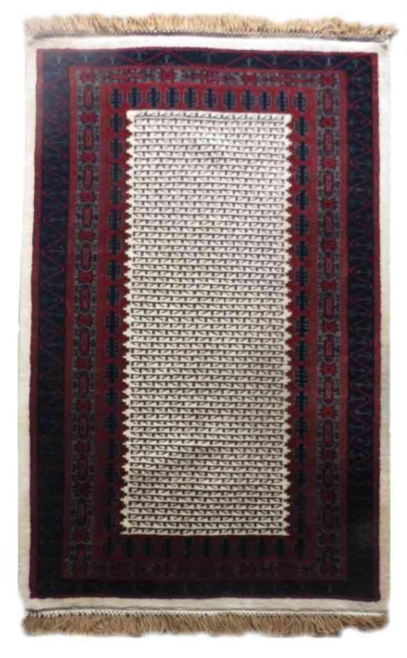 Cream Maroon Wool Rug From India
