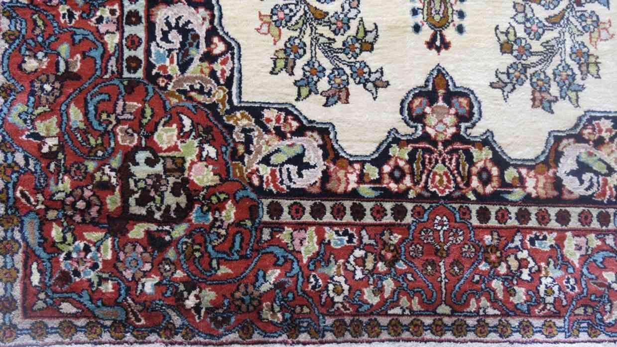 Cream Rust Handmade Silk Rugs