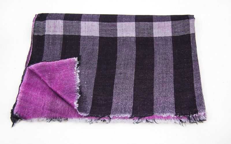 Violet Scream Reversible Checks 100 Wool Scarf