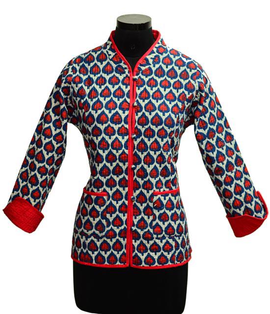 Indigo Heart Cotton Quilted Jacket