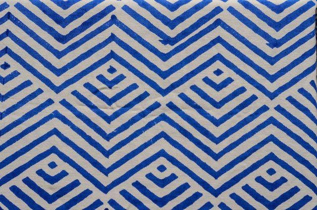 Blue Zigzag Cotton Upholstery Fabric