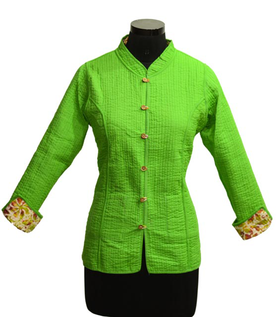 Neon Green Yellow Quilted Cotton Jackets Women