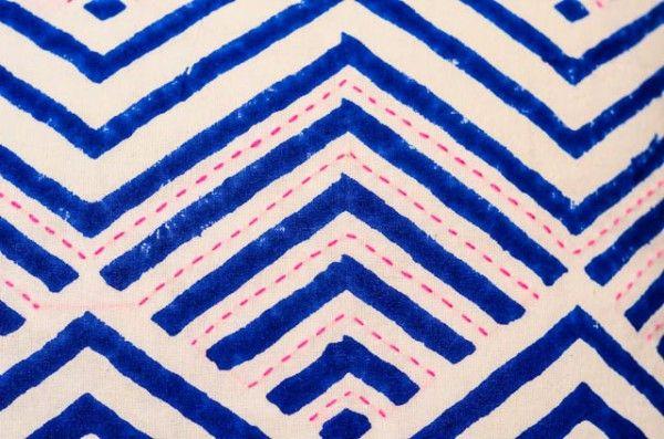 Blue Hand Block Print Kantha Cushions Online