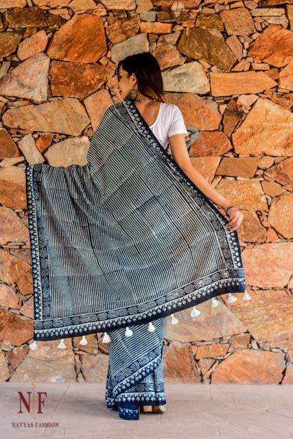 Indigo Dyed Block Print Cotton Sarees