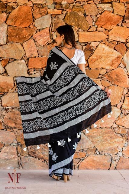 Black And White Hand Block Printed Sarees Online