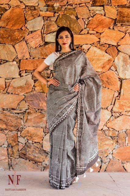 Kashish Grey Block Print Sarees