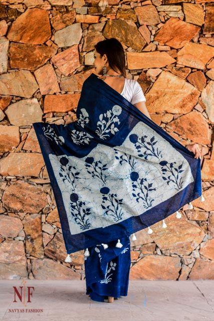 Indigo And White Hand Block Printed Cotton Sarees