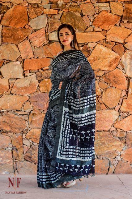 Indigo Striped Block Print Silk Cotton Sarees