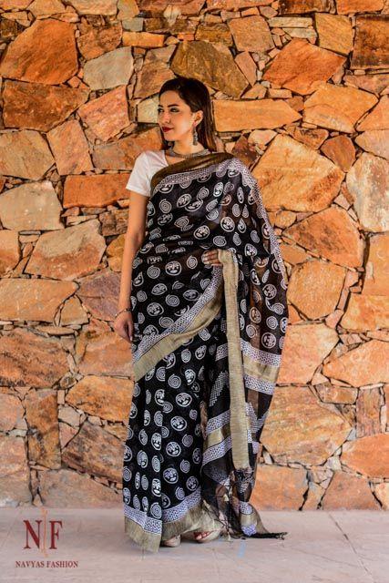 Black And White Block Print Silk Cotton Sarees