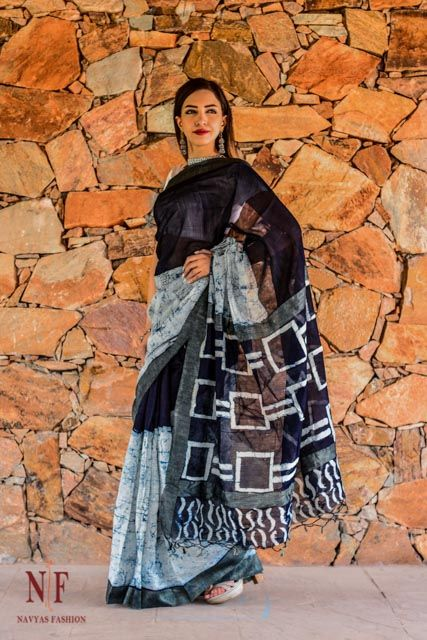 Indigo Block Print Silk Cotton Sarees