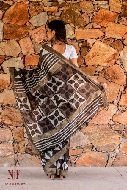 Kashish Grey Block Print Silk Cotton Sarees