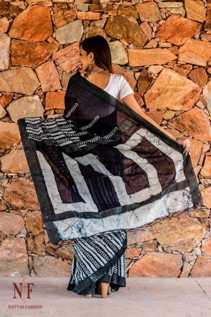 Indigo And White Block Print Silk Cotton Sarees