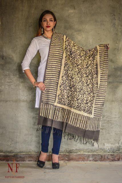 Kashish Grey Chanderi Block Printed Cotton Silk Dupatta