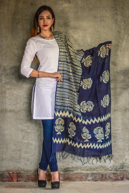 Indigo And White Chanderi Cotton Silk Dupatta Cs47