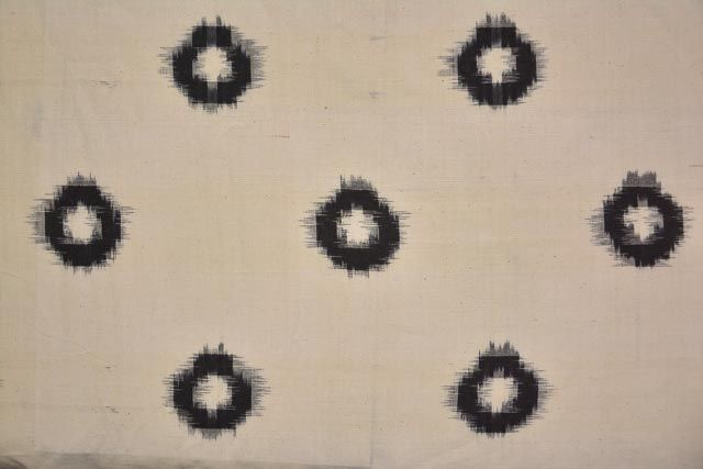 White And Black Double Ikat Fabric