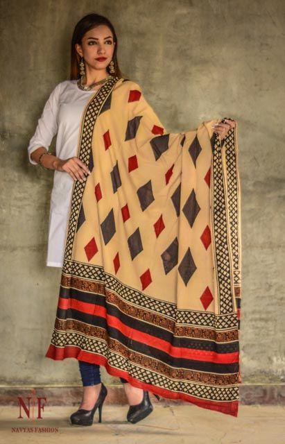 Tricolor Block Printed Cotton Dupatta