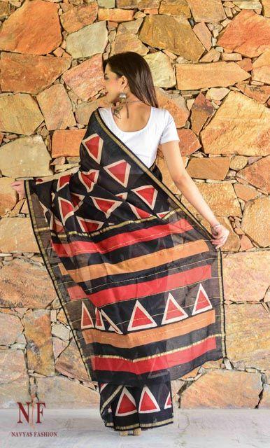 Black And Red Block Print Silk Cotton Sarees