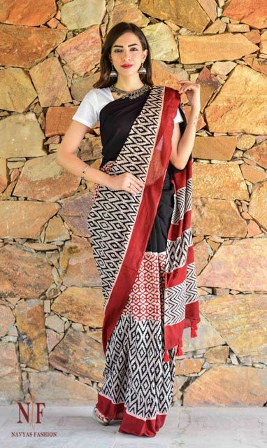 Black And Red Hand Block Printed Cotton Sarees