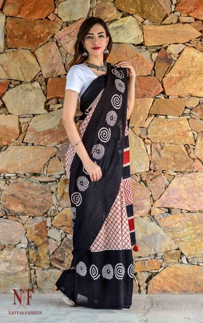 Red And Black Hand Block Printed Cotton Sarees