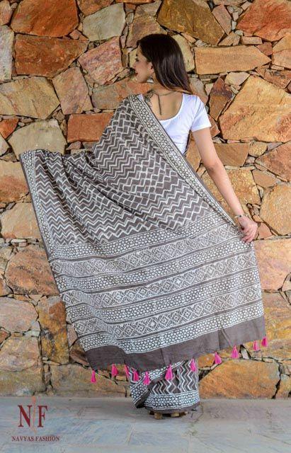 Kashish Grey And White Block Printed Cotton Sarees