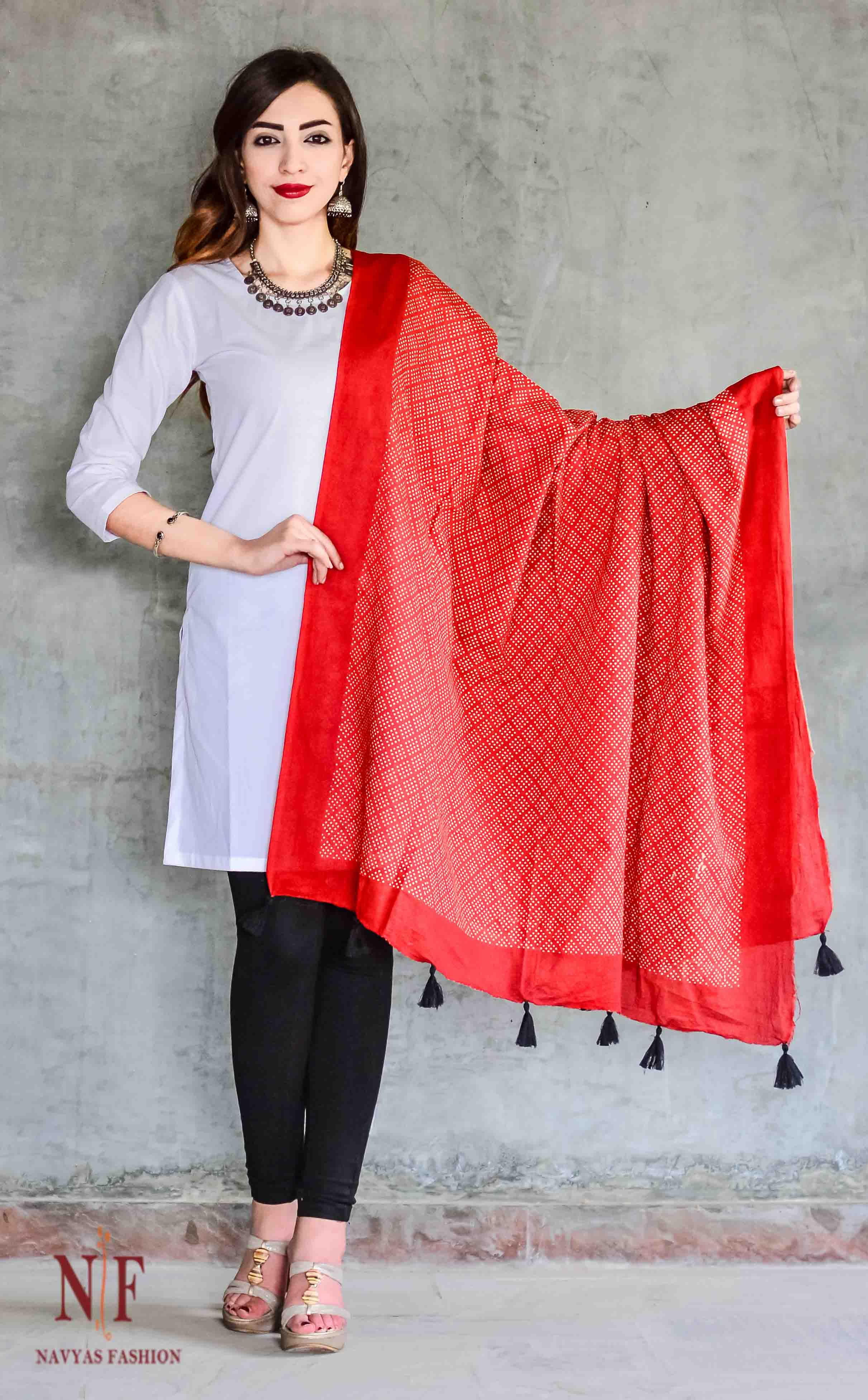 Red And White Block Printed Cotton Scarf