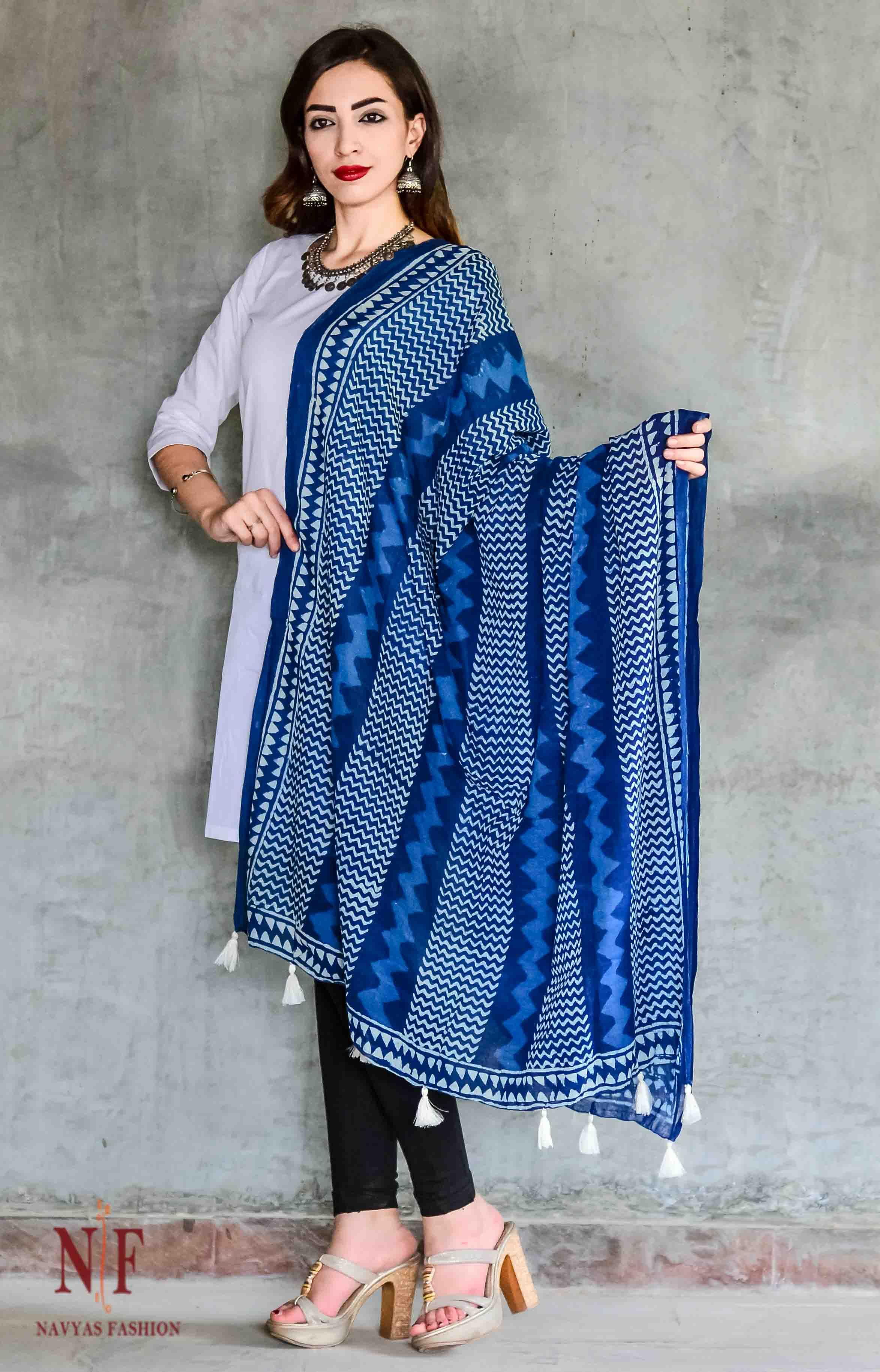 Indigo Block Printed Cotton Scarf