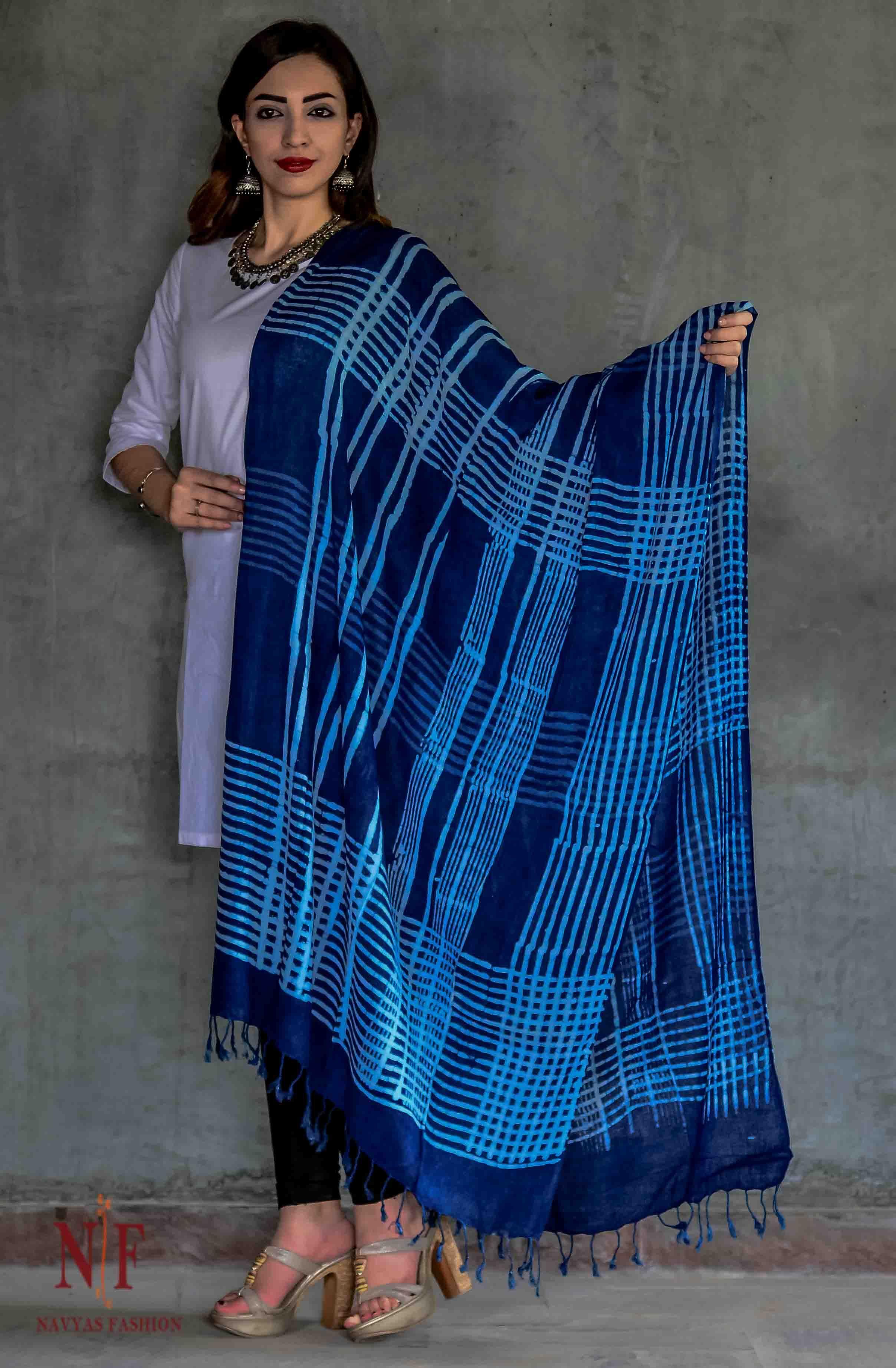 Indigo And White Block Print Scarves