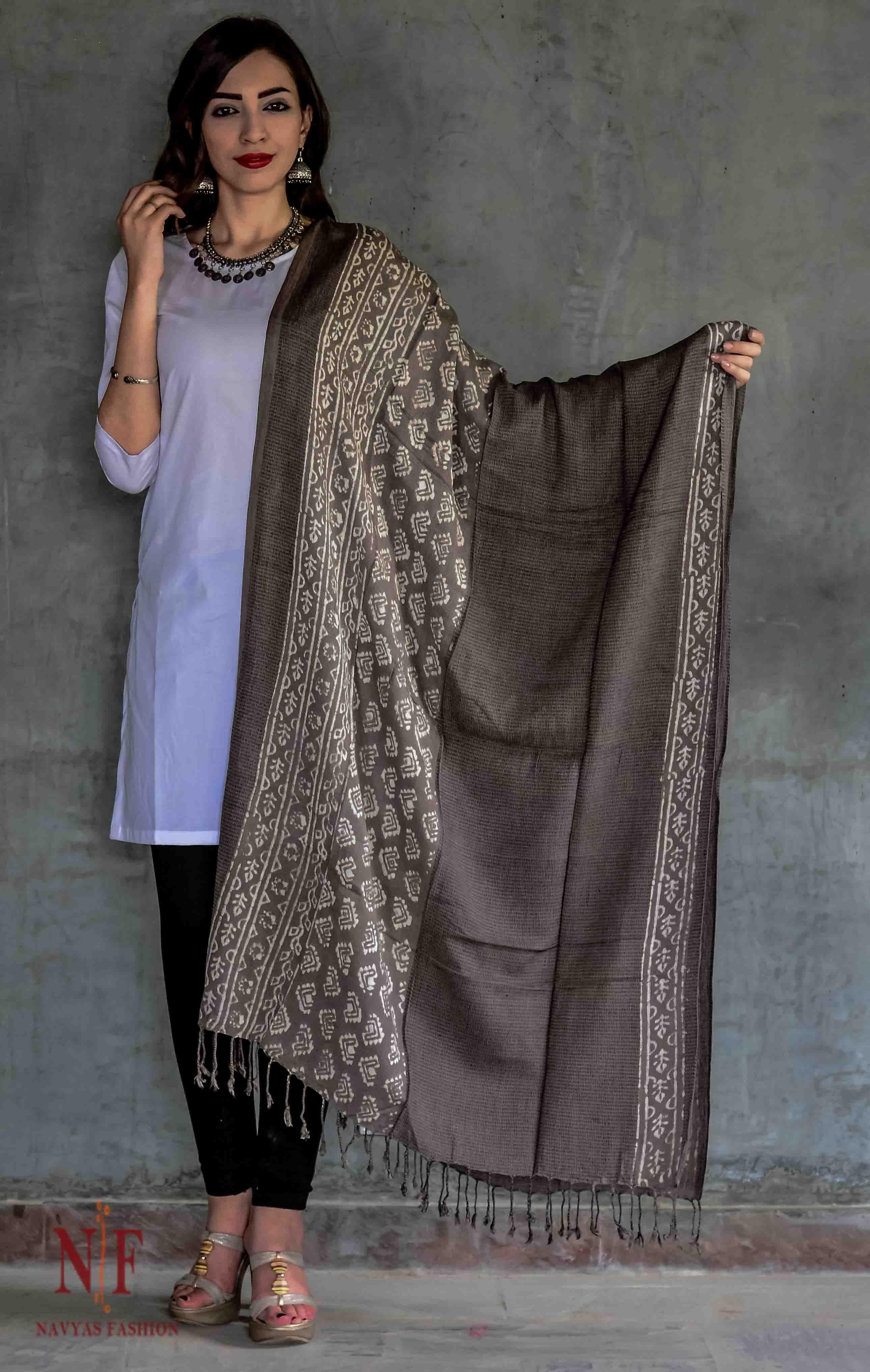 Kashish Grey And White Block Print Scarves